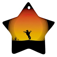 Horse Cowboy Sunset Western Riding Ornament (star)