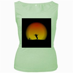 Horse Cowboy Sunset Western Riding Women s Green Tank Top