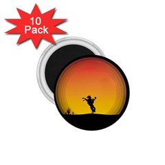 Horse Cowboy Sunset Western Riding 1 75  Magnets (10 Pack)
