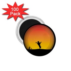Horse Cowboy Sunset Western Riding 1 75  Magnets (100 Pack)