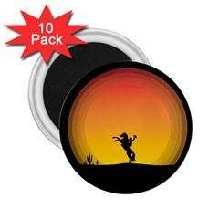 Horse Cowboy Sunset Western Riding 2 25  Magnets (10 Pack)