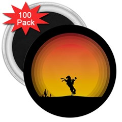 Horse Cowboy Sunset Western Riding 3  Magnets (100 Pack)