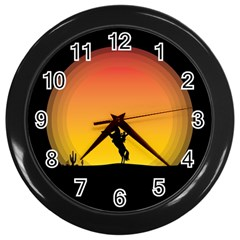 Horse Cowboy Sunset Western Riding Wall Clocks (black)