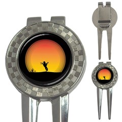 Horse Cowboy Sunset Western Riding 3 In 1 Golf Divots
