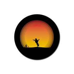 Horse Cowboy Sunset Western Riding Rubber Round Coaster (4 Pack)
