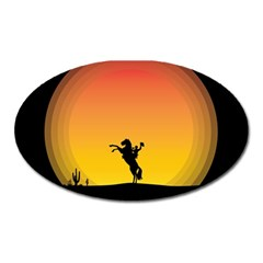 Horse Cowboy Sunset Western Riding Oval Magnet