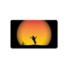Horse Cowboy Sunset Western Riding Magnet (name Card)