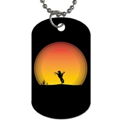 Horse Cowboy Sunset Western Riding Dog Tag (two Sides)
