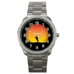 Horse Cowboy Sunset Western Riding Sport Metal Watch