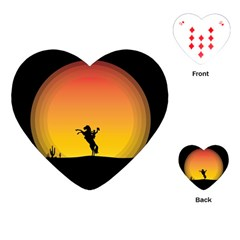Horse Cowboy Sunset Western Riding Playing Cards (heart)