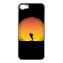 Horse Cowboy Sunset Western Riding Apple Iphone 5 Case (silver)