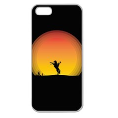 Horse Cowboy Sunset Western Riding Apple Seamless Iphone 5 Case (clear)