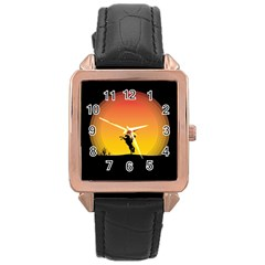 Horse Cowboy Sunset Western Riding Rose Gold Leather Watch