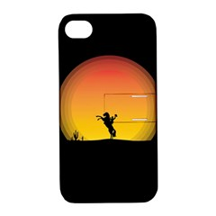 Horse Cowboy Sunset Western Riding Apple Iphone 4/4s Hardshell Case With Stand