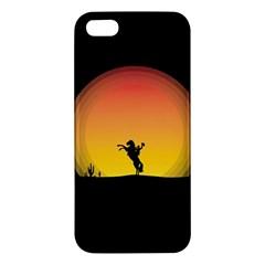 Horse Cowboy Sunset Western Riding Apple Iphone 5 Premium Hardshell Case