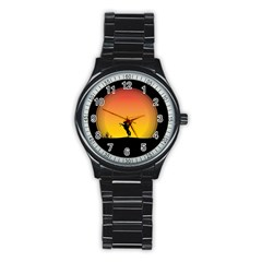 Horse Cowboy Sunset Western Riding Stainless Steel Round Watch