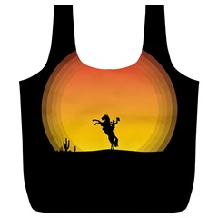 Horse Cowboy Sunset Western Riding Full Print Recycle Bags (l)