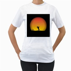 Horse Cowboy Sunset Western Riding Women s T Shirt (white)