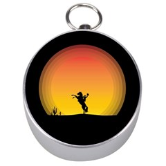 Horse Cowboy Sunset Western Riding Silver Compasses