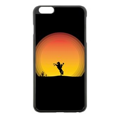 Horse Cowboy Sunset Western Riding Apple Iphone 6 Plus/6s Plus Black Enamel Case