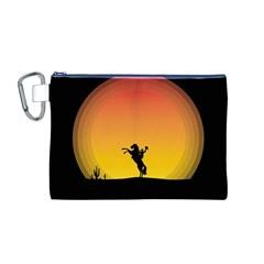 Horse Cowboy Sunset Western Riding Canvas Cosmetic Bag (m)