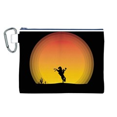 Horse Cowboy Sunset Western Riding Canvas Cosmetic Bag (l)