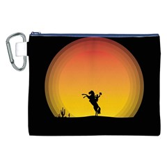 Horse Cowboy Sunset Western Riding Canvas Cosmetic Bag (xxl)