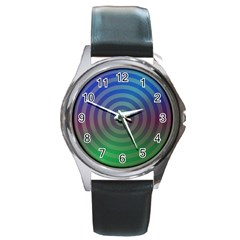 Blue Green Abstract Background Round Metal Watch