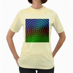 Blue Green Abstract Background Women s Yellow T Shirt