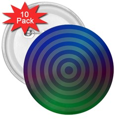 Blue Green Abstract Background 3  Buttons (10 Pack)
