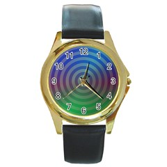 Blue Green Abstract Background Round Gold Metal Watch