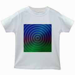 Blue Green Abstract Background Kids White T Shirts