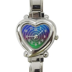 Blue Green Abstract Background Heart Italian Charm Watch