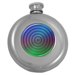 Blue Green Abstract Background Round Hip Flask (5 Oz)