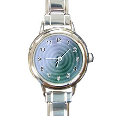Teal Background Concentric Round Italian Charm Watch