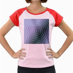 Teal Background Concentric Women s Cap Sleeve T Shirt