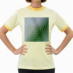 Teal Background Concentric Women s Fitted Ringer T Shirts