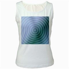 Teal Background Concentric Women s White Tank Top