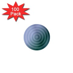 Teal Background Concentric 1  Mini Buttons (100 Pack)