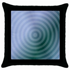 Teal Background Concentric Throw Pillow Case (black)