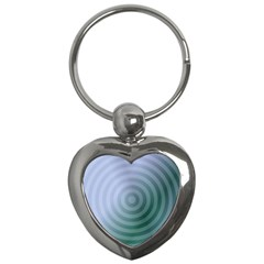 Teal Background Concentric Key Chains (heart)
