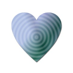 Teal Background Concentric Heart Magnet
