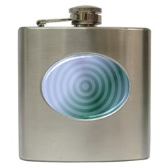 Teal Background Concentric Hip Flask (6 Oz)