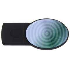 Teal Background Concentric Usb Flash Drive Oval (2 Gb)