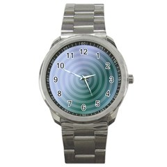 Teal Background Concentric Sport Metal Watch