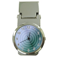 Teal Background Concentric Money Clip Watches