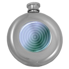 Teal Background Concentric Round Hip Flask (5 Oz)