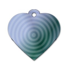 Teal Background Concentric Dog Tag Heart (two Sides)