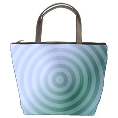 Teal Background Concentric Bucket Bags