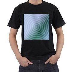 Teal Background Concentric Men s T Shirt (black)